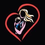 Мама нежно отжимает младенца, сердца иллюстрация штока