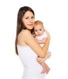 Мама портрета молодая и милый младенец Стоковое Изображение RF
