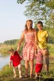 Мама с близнецами детей Стоковое фото RF