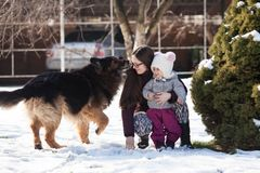 Мама с дочерью и собака на зиме идут Стоковые Фото