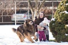 Мама с дочерью и собака на зиме идут Стоковые Изображения