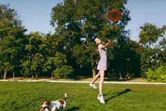 Мама с дочерью и собаки идут в парк с диском летания Стоковое Изображение