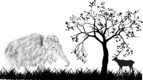 Мамонт и олени под деревом Стоковая Фотография