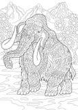 Мамонт Zentangle доисторический иллюстрация штока