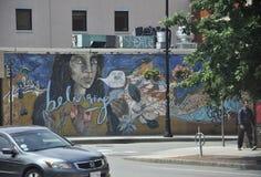 МАМЫ Кембриджа, 30-ое июня: Граффити на стене от Кембриджа городского в положении Massachusettes США Стоковое Изображение