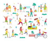 Мамы тратя время счастливо с малыми детьми иллюстрация штока