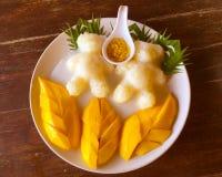Манго с сладостным липким рисом, красивым украшением стоковое фото