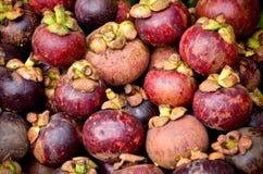 Мангустан в рынке плодоовощ Стоковые Изображения