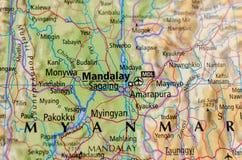 Мандалай на карте стоковые изображения