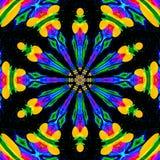 Мандала граффити Цветок, орнамент в ярких неоновых цветах Стоковая Фотография RF