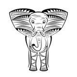 мандала Изображение слона на белой предпосылке Стоковое Изображение RF