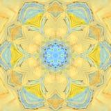 Мандала мозаики голубой желтой весны флористическая Стоковое Фото
