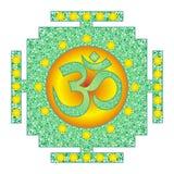 Мандала Tibetian openwork, элегантный круговой орнамент с Om/Aum/омом подписывает в центре смогите конструктор каждый вектор ориг иллюстрация вектора
