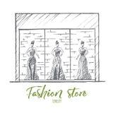 Манекены нарисованные рукой женские в магазине моды Стоковые Фото