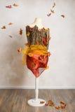 Манекен осени с падая листьями Стоковое Фото