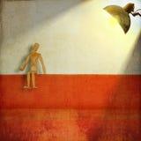 Манекен усаживанием художника осветил лампой Стоковая Фотография RF
