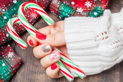Маникюр искусства ногтя рождества Стоковые Изображения
