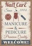 Маникюр и плакат pedicure покрашенный годом сбора винограда Стоковое Изображение