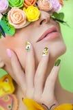 Маникюр с бабочками Стоковое фото RF