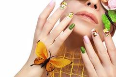 Маникюр с бабочками Стоковая Фотография RF