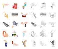 Манипуляция мультфильмом рук, значками плана в установленном собрании для дизайна Сеть запаса символа вектора движения руки бесплатная иллюстрация