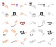 Манипуляция мультфильмом рук, mono значками в установленном собрании для дизайна Вручите движение в сети запаса символа вектора м иллюстрация вектора