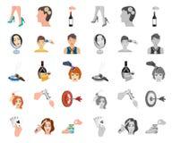 Манипуляция мультфильмом рук, mono значками в установленном собрании для дизайна Сеть запаса символа вектора движения руки иллюстрация штока