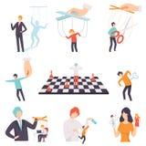 Манипуляция набора людей, людей марионетки на веревочках контролируемых другими иллюстрация вектора бесплатная иллюстрация