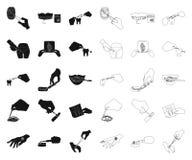 Манипуляция руками черными, значками плана в установленном собрании для дизайна Движение руки в запасе символа вектора медицины иллюстрация вектора