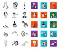 Манипуляция руками mono, плоскими значками в установленном собрании для дизайна Иллюстрация сети запаса символа вектора движения  иллюстрация штока