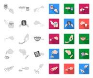 Манипуляция руками mono, плоскими значками в установленном собрании для дизайна Движение руки в сети запаса символа вектора медиц бесплатная иллюстрация