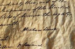 манифест Линколььаа об освобождении рабов Стоковая Фотография