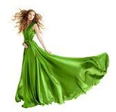 Мантия зеленого цвета моды женщины, длинное платье вечера Стоковая Фотография