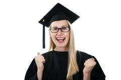 d градуируют крышку градации человека нося с дипломом Иллюстрация  Мантия и крышка счастливого университета постдипломная нося изолированные на белизне Стоковая Фотография