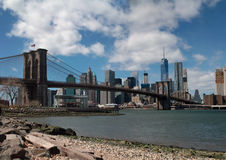 Манхаттан, всемирный торговый центр, Бруклинский мост, Нью-Йорк Стоковые Фотографии RF
