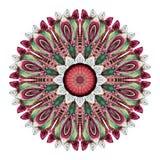 Мандала акварели абстрактная Круговая картина пер изолированных на белой предпосылке Стоковая Фотография