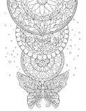 Мандала, бабочка и декоративные картины, татуировка, эскиз Стоковое Фото