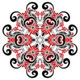 Мандала вектора красных и черных цветов курчавая богато украшенная иллюстрация вектора