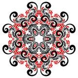 Мандала вектора красных и черных цветов курчавая богато украшенная иллюстрация штока