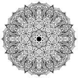 Мандала вектора черная богато украшенная Стоковые Фото