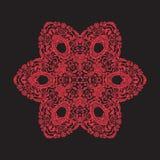 Мандала вышивки в красном цвете на черной предпосылке Ассортимент запасов Стоковое Изображение