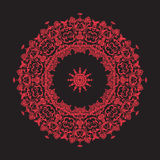 Мандала вышивки в красном цвете на черной предпосылке Vecto ассортимента запасов Стоковые Изображения