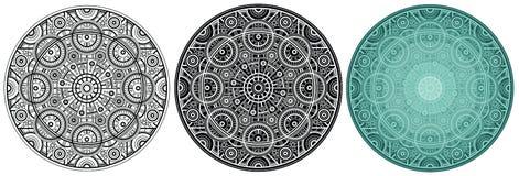 Мандала геометрии для книжка-раскраски Круглая картина с кругом и линией иллюстрация вектора
