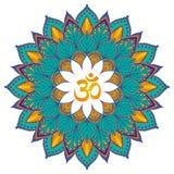 мандала Изолированный этнический круглый орнамент с символом om вектор Стоковое Фото