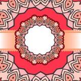 Мандала красного цвета рамки Стоковые Фото