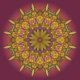 Мандала, круглая картина на предпосылке сирени, ele зеленого цвета орнамента Стоковые Изображения