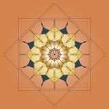 Мандала, круглый орнамент, элемент для дизайна на бежевой предпосылке Стоковая Фотография RF