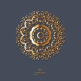 Мандала орнаментального цветка золота восточная на голубой предпосылке цвета Стоковое Изображение RF