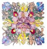 Мандала орхидеи иллюстрация вектора
