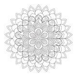 Мандала плана для книжка-раскраски декоративный орнамент круглый Стоковая Фотография